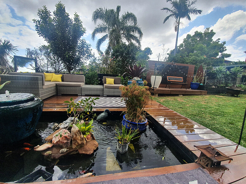 Wooden decking and landscaping